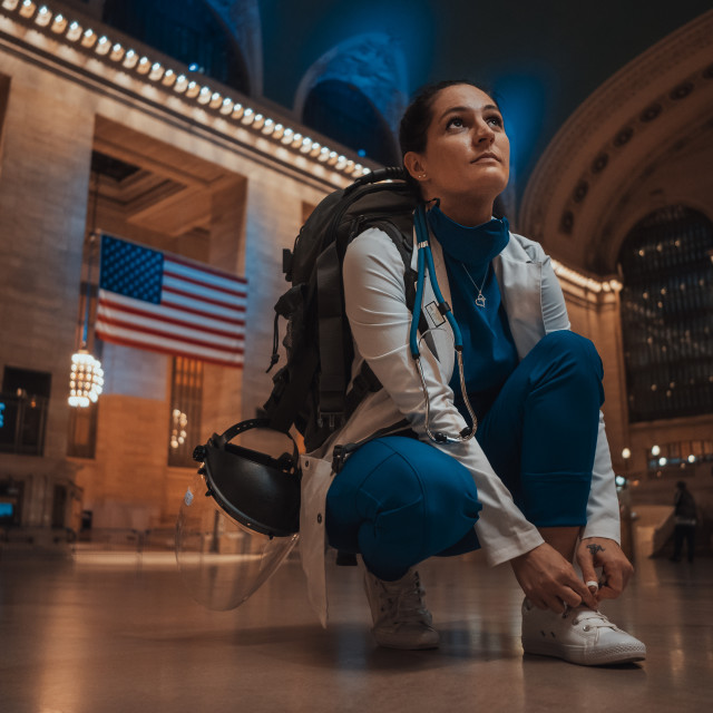 """""""Nurse arrives in NYC"""" stock image"""