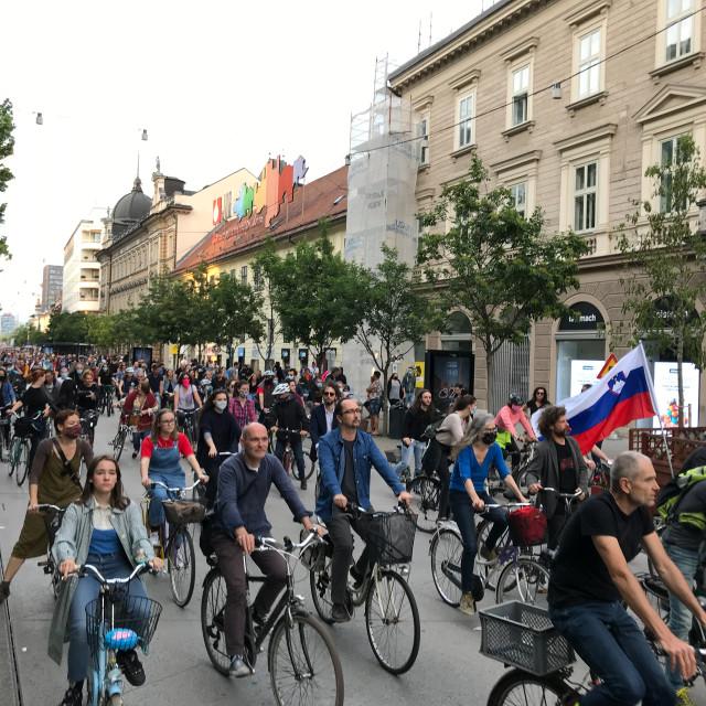 """""""Protesters in Ljubljana, Slovenia"""" stock image"""