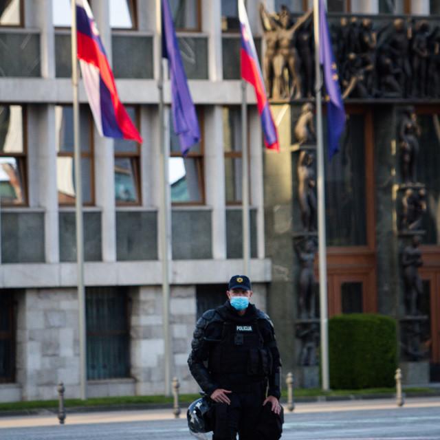 """""""Policeman at a demonstration in Ljubljana, Slovenia"""" stock image"""