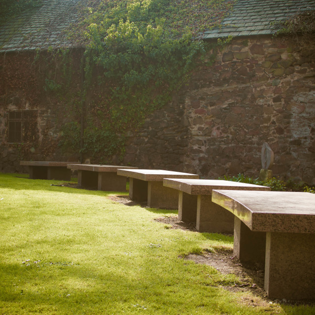 """Benches in the Sun"" stock image"