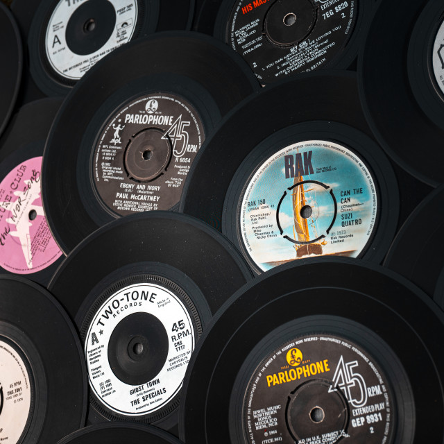 """Selection of vintage vinyl 45rpm single"" stock image"