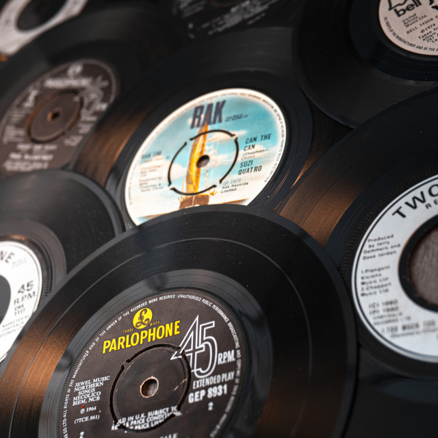 """Selection of vintage vinyl 45rpm singles"" stock image"