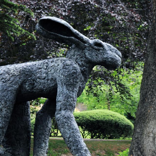 """Lady Hare. Sophie Ryder at Yorkshire Sculpture Park"" stock image"