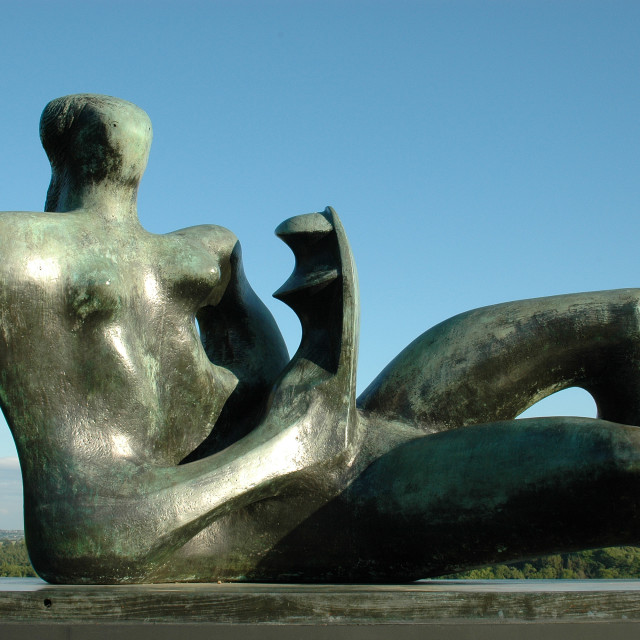 """""""Reclining Figure, Henry Moore"""" stock image"""
