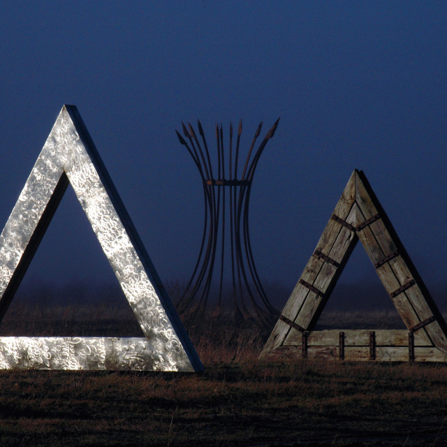 """""""60 degrees, sculpture installation by Kevin O'Dwyer"""" stock image"""