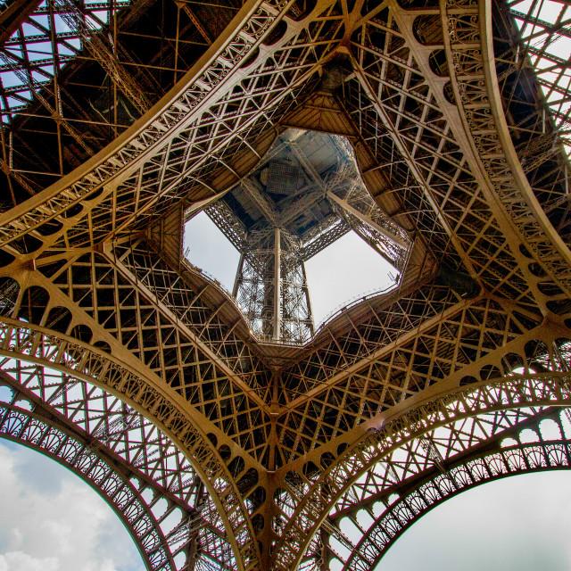 """The Eiffel Tower, Paris. Showing Lattice Construction."" stock image"