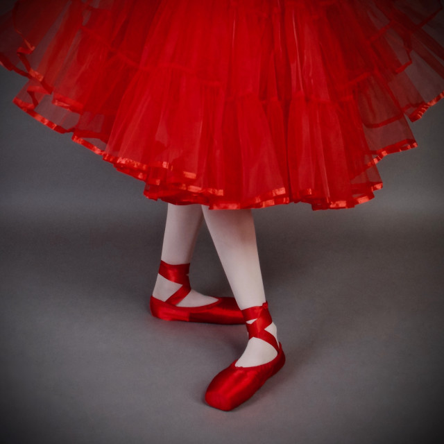 """""""Shoe Stories : Ballet Position In Red"""" stock image"""