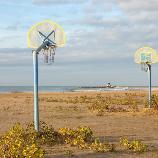 """Basketball court on the beach"" stock image"