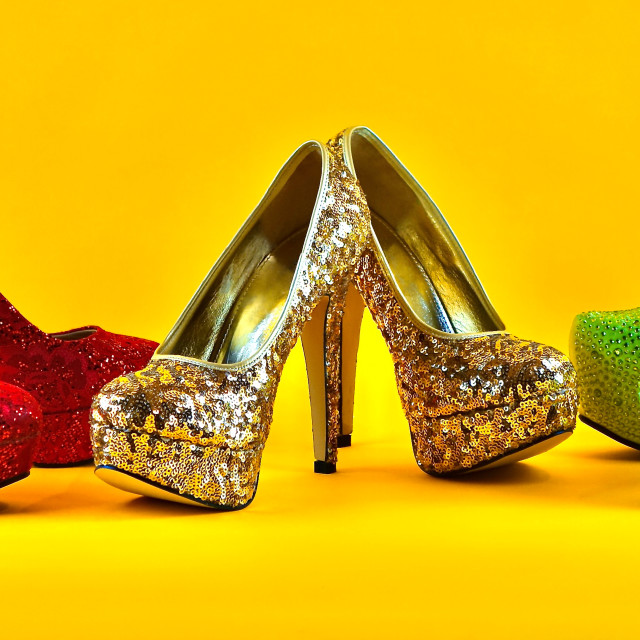 """""""Shoe Stories : Red, Gold & Green"""" stock image"""