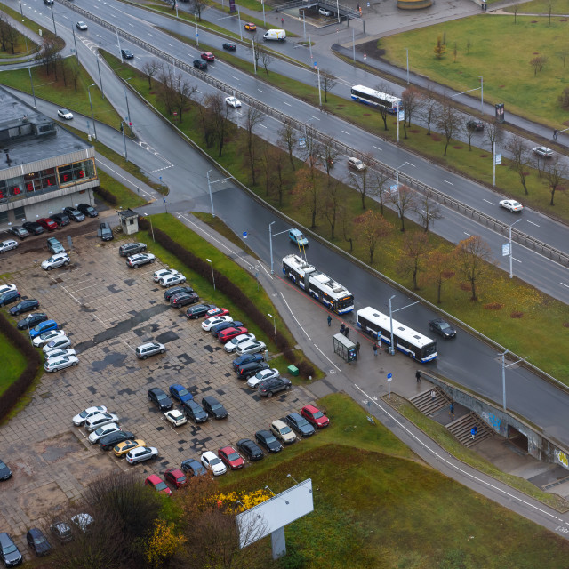 """""""Car parking place in Riga city."""" stock image"""