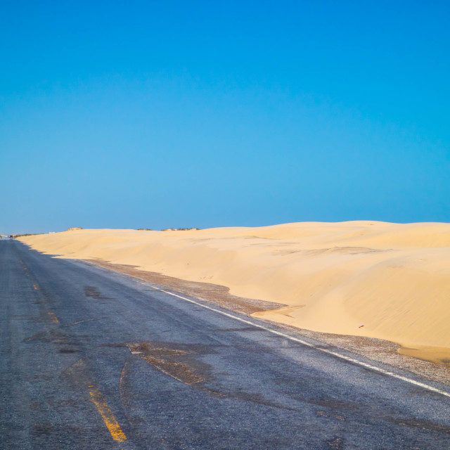 """""""A long way down the road of South Padre Island, Texas"""" stock image"""