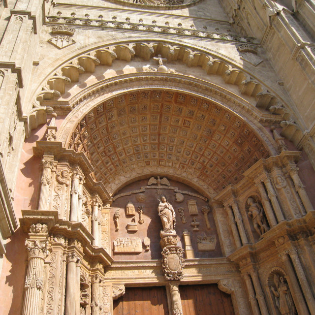 """""""Arched doorway at Palma Cathedral"""" stock image"""