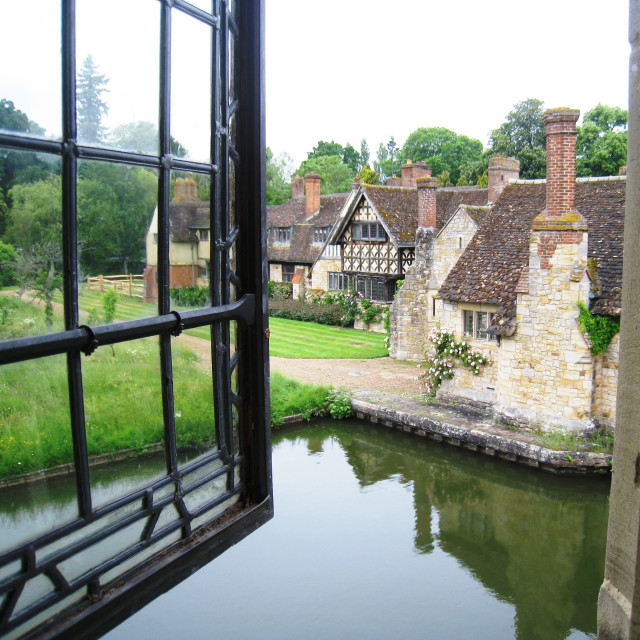 """""""View through a window at Hever Castle"""" stock image"""