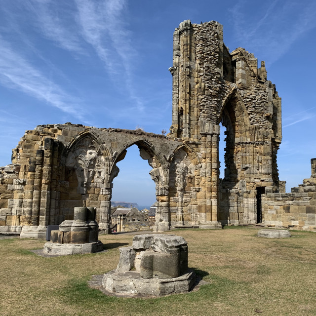 """""""Whitby Abbey ruins"""" stock image"""
