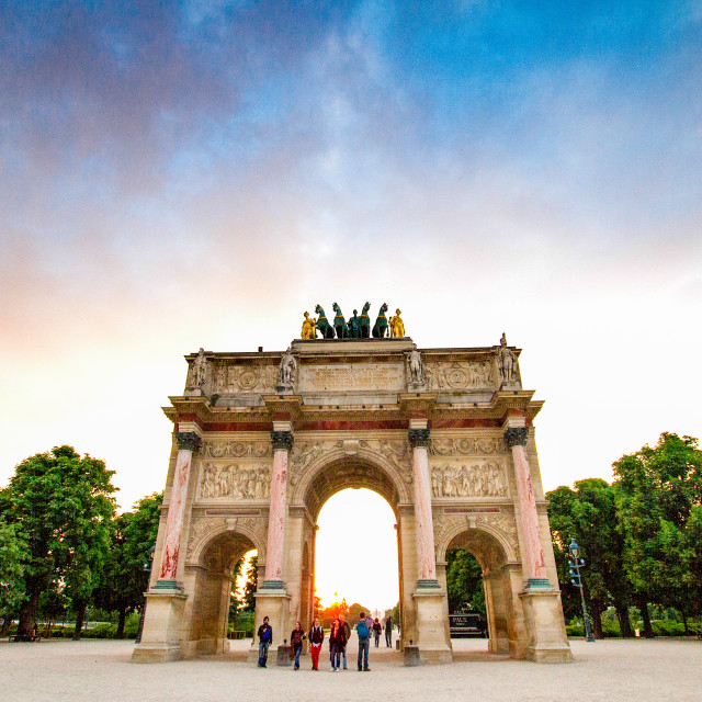 """The Arc de Triomphe du Carrousel in Paris. Tuileries Garden in the background"" stock image"