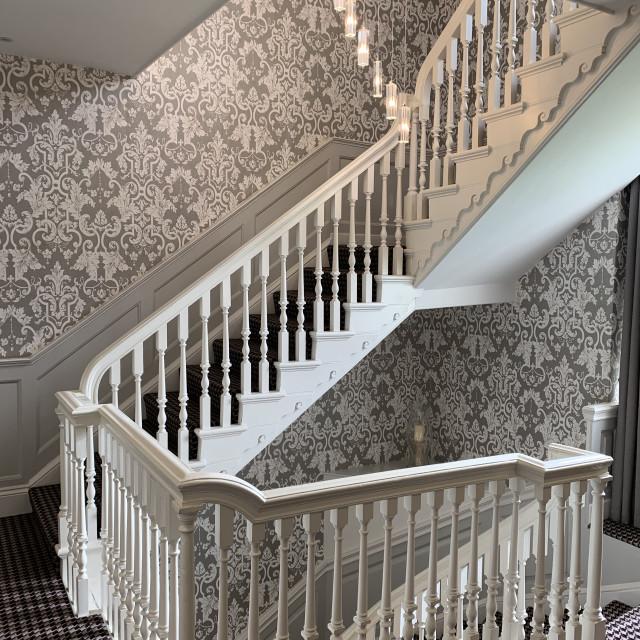 """Elegant stairway wth attractive wallpaper"" stock image"
