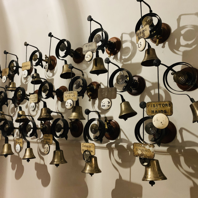 """Bells in the Servants Hall"" stock image"