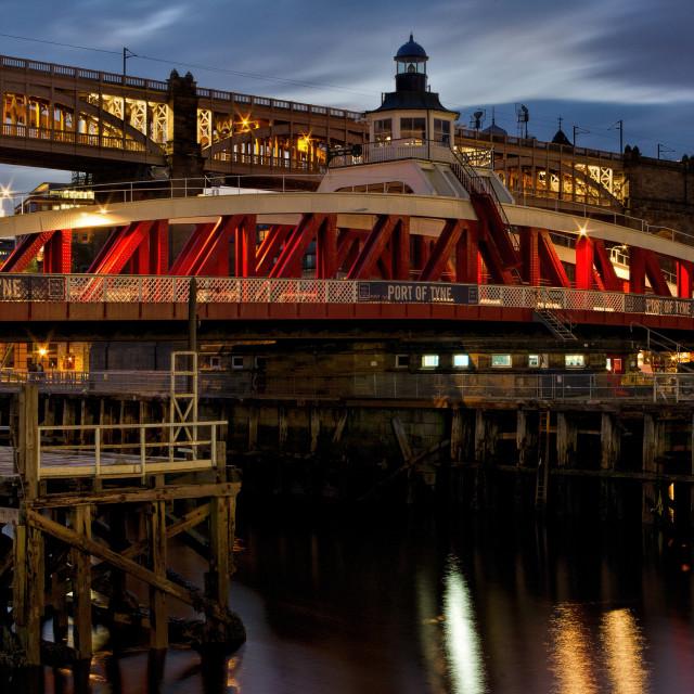 """Swing Bridge at twilight - River Tyne"" stock image"