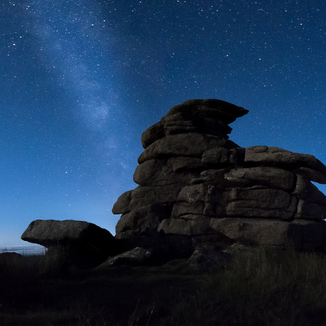 """Milky Way over Great Staple Tor"" stock image"