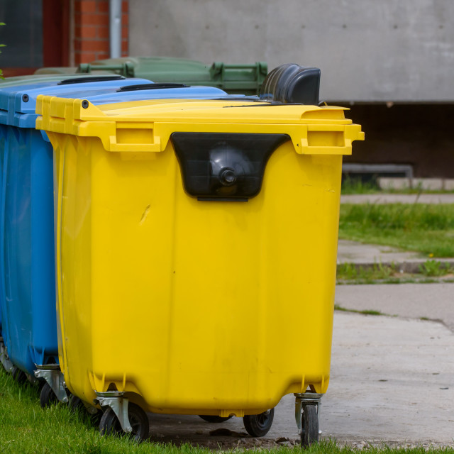 """""""Waste sorting containers. Gulbene, Latvia."""" stock image"""