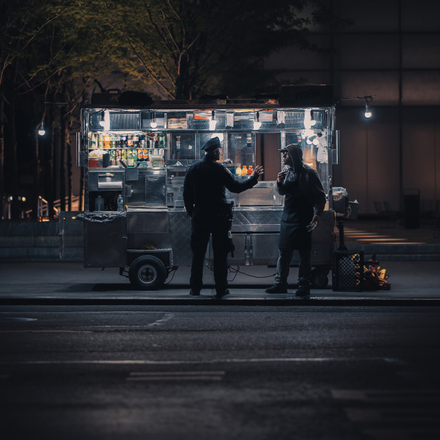 """""""Hot-dog cart in NYC"""" stock image"""