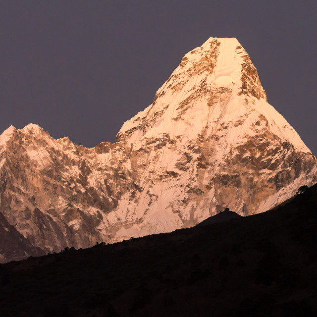 """Ama Dablam illuminated just after the sunset"" stock image"