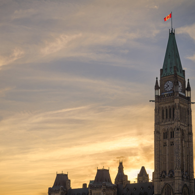 """Sunset Behind Centre Block, Parliament Hill"" stock image"