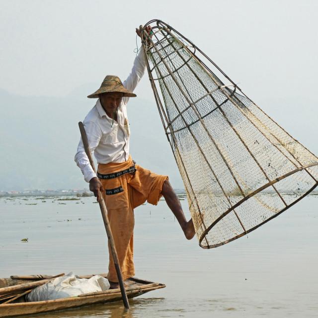 """Inle Fisherman #3"" stock image"