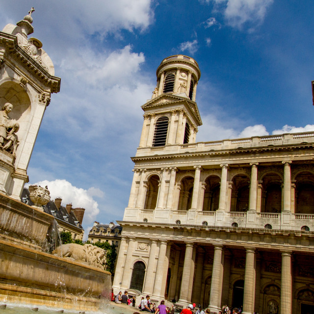 """Fontaine Saint-Sulpice, Paris. Church of Saint Sulpice to the Background"" stock image"