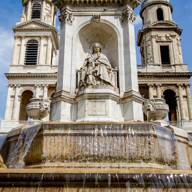"""""""Fontaine Saint-Fontaine Saint-Sulpice, Paris. Church of Saint Sulpice to the Background, Paris"""" stock image"""