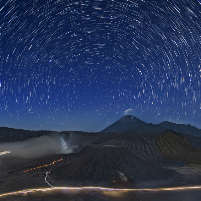 """Star Trails over Mount Bromo"" stock image"
