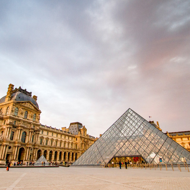 """The Louvre Pyramid and The Louvre,Paris"" stock image"