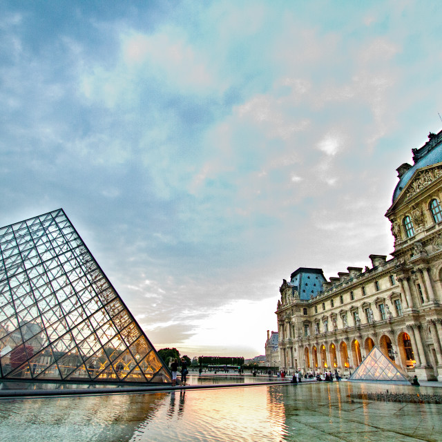 """The Louvre Pyramid and The Louvre, Paris"" stock image"