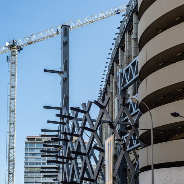 """Renovation work at Santiago Bernabeu Stadium. It is the headquarters of the Real Madrid football club."" stock image"