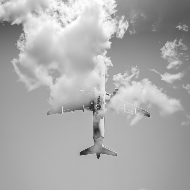 """""""Airplane look-up"""" stock image"""
