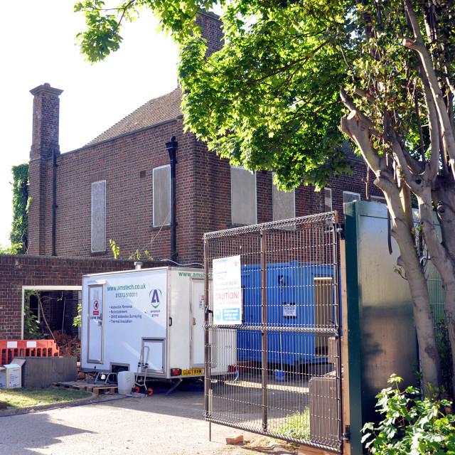 """""""Church Demolition. St Elisabeth's Eastbourne"""" stock image"""