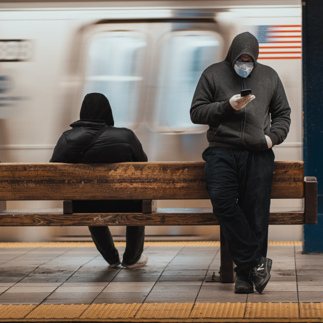 """""""Social distancing in the subway"""" stock image"""