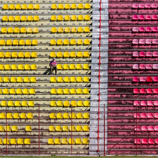 """Lonely football fan"" stock image"