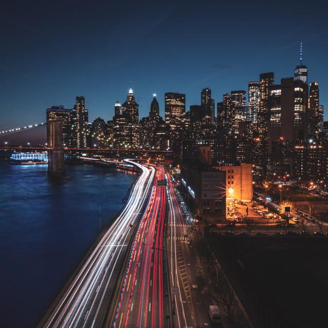 """Lower Manhattan evening"" stock image"