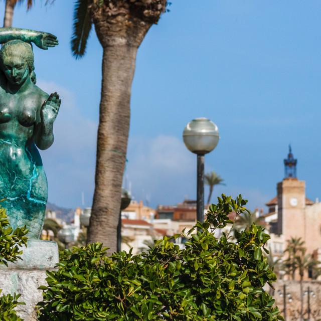 """Mermaid sculpture - Sitges, Catalonia, Spain, Europe"" stock image"