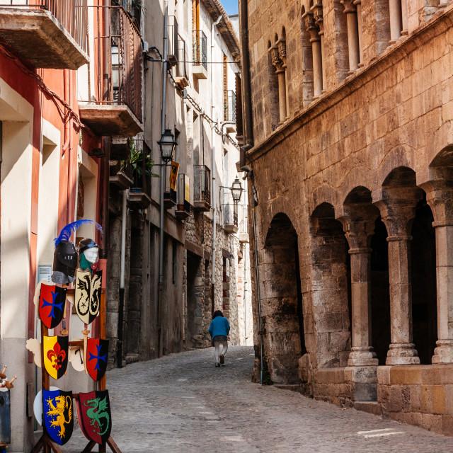 """Narrow street in the old town of Besalu, Catalonia, Spain, Europ"" stock image"