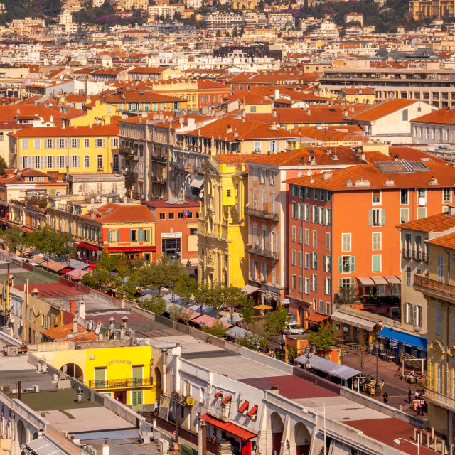 """""""Vibrant buildings, Nice old town, Cote d'Azur, France, Europe"""" stock image"""