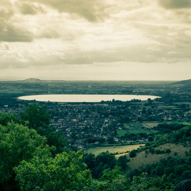 """""""View of Cheddar village and Cheddar reservoir from Cheddar Gorge, Somerset, England, UK"""" stock image"""