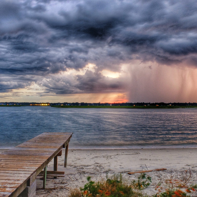 """Lightning off the dock"" stock image"