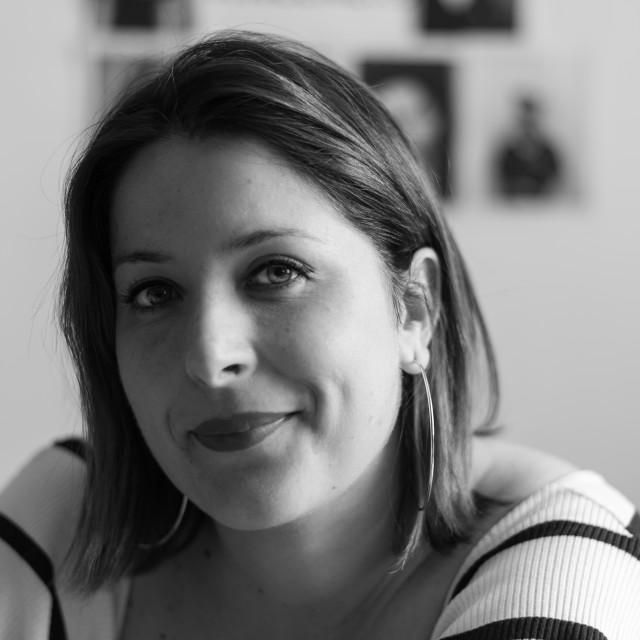 """Black and white close-up portrait of Smiling girl, horizontal im"" stock image"