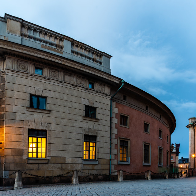 """""""Scenic view at sunset of Royal Palace of Stockholm"""" stock image"""