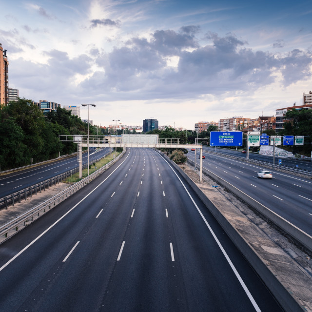 """""""Empty M30 Highway in Madrid during COVID-19 pandemic outbreak and quarantine"""" stock image"""