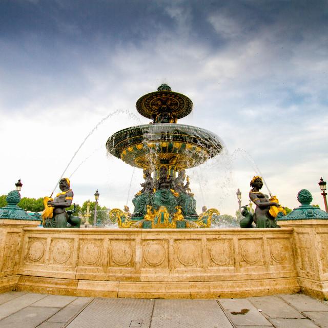 """""""Fontaine des Mers on the Place de la Concorde in Paris"""" stock image"""