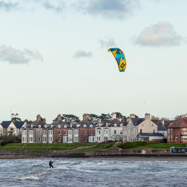 """""""Kite surfing at Ballyholme, Bangor"""" stock image"""