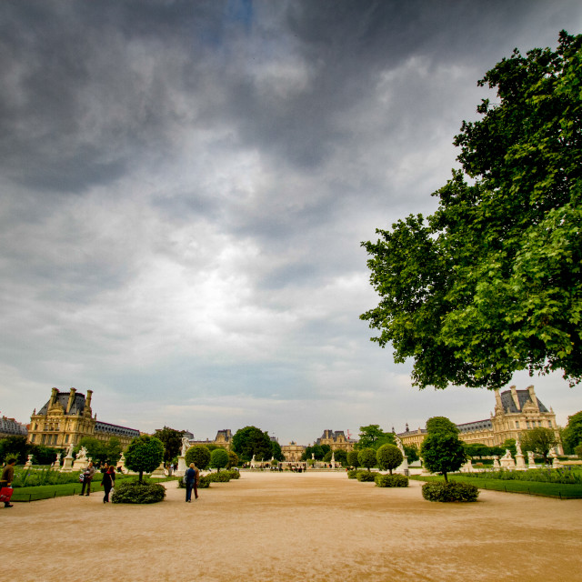 """Approach to Te Louvre from Tuileries Garden, Paris"" stock image"